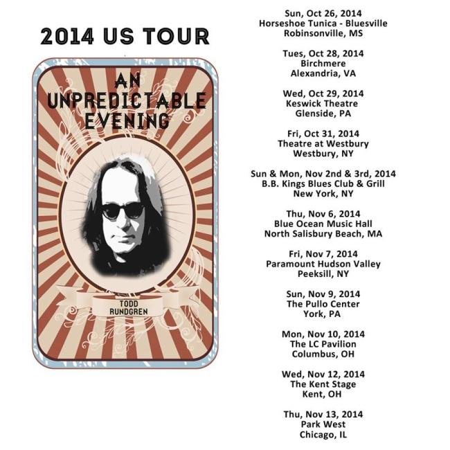 Kasim Sulton and Todd Rundgren tour dates