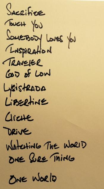 Kasim Sulton's set list from Bordentown