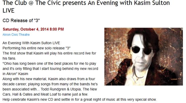 Kasim Sulton solo gig in Akron
