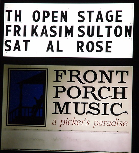 Kasim Sulton on board outside Front Porch Music - 02/15/02