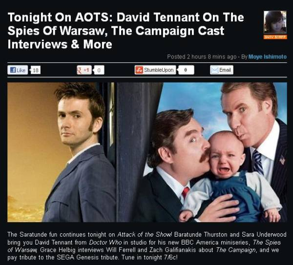David Tennant on Attack Of The Show