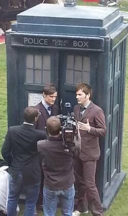 David Tennant and Matt Smith filming Doctor Who - 17/4/13